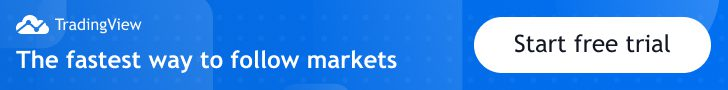 banner of trading view with a button to start a free trial